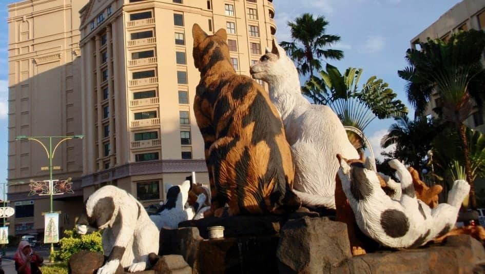 The famous cat statue of Kuching. Sarawak