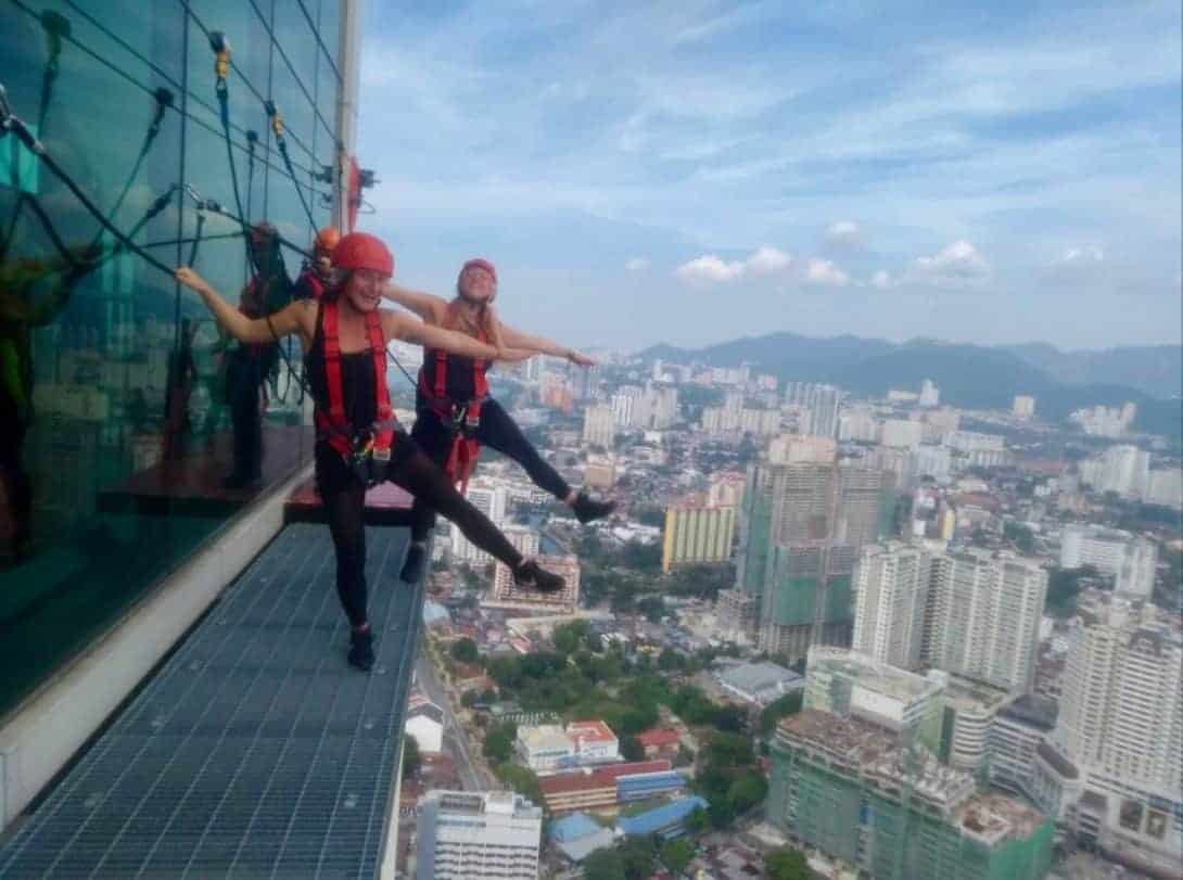 One leg over the edge at The Gravityz, Penang.