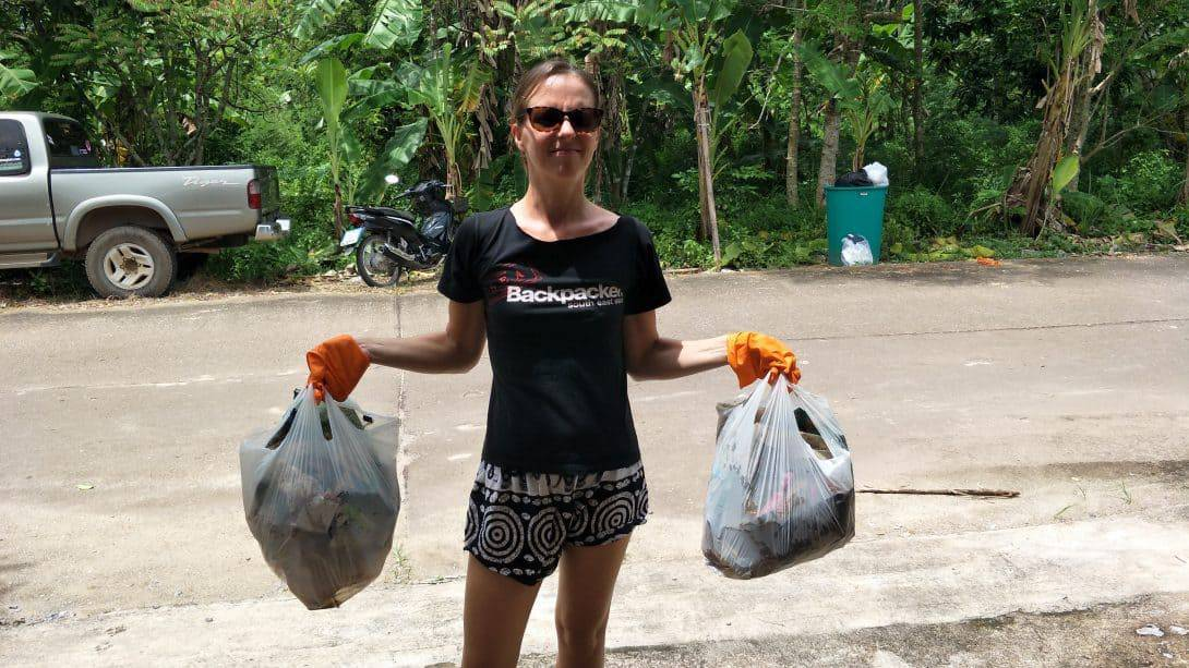 Collecting litter in Koh Lanta, Thailand
