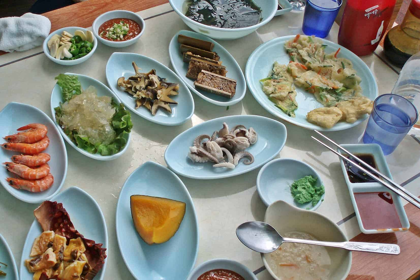 A variety of Korean dishes at a Seoul Restaurant.