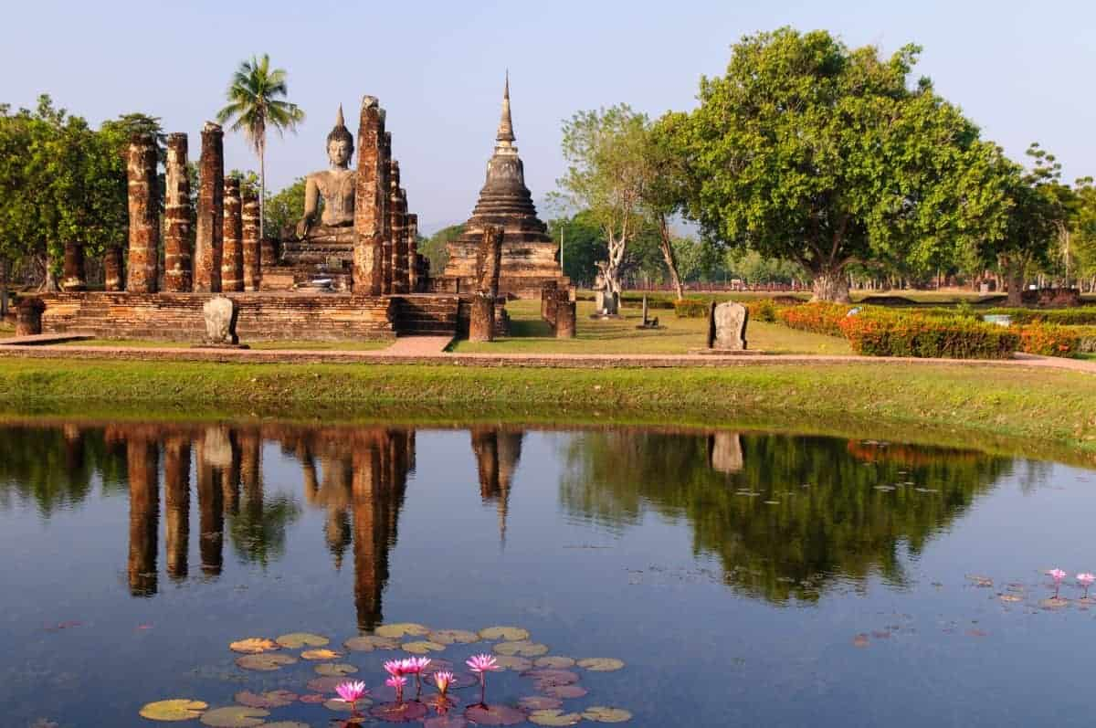 A Buddha Statue & Pagoda at Sukhothai