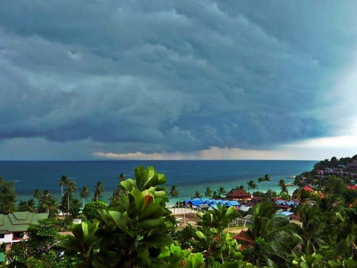 A tropical storm brews in Koh Phangan, Thailand.