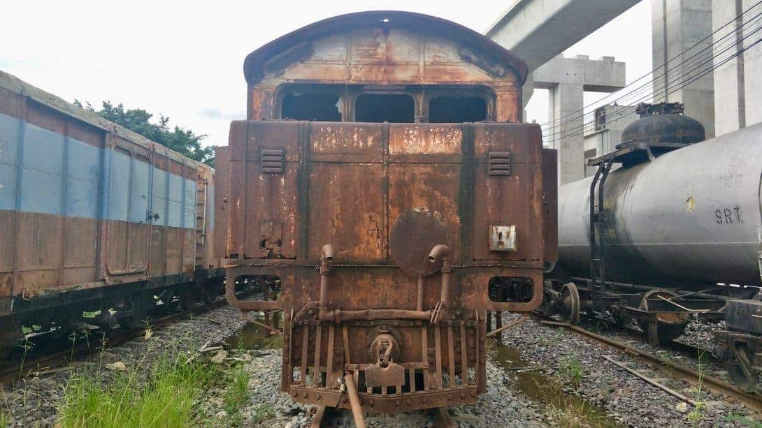 A rust bucket. An old train in Bangkok's train cemetery in Bangkok.