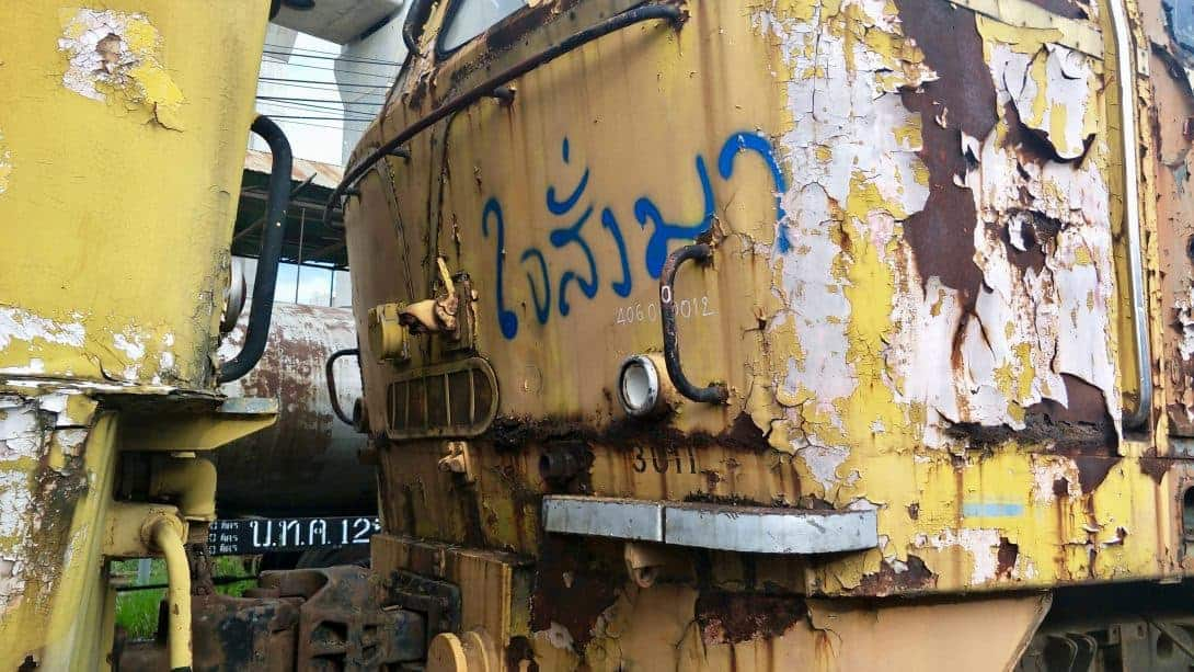 A rusting old train in Bangkok.
