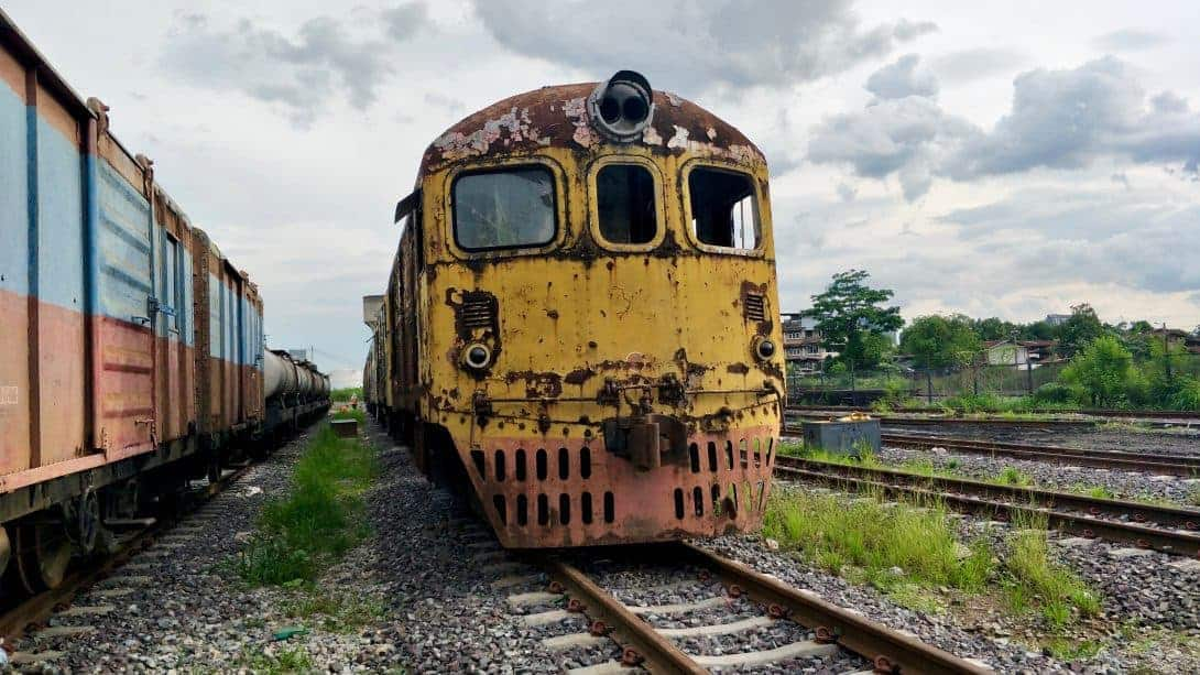 The train graveyard of Bangkok - a very different tourist attraction.