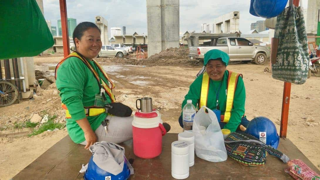 Female Thai construction workers.