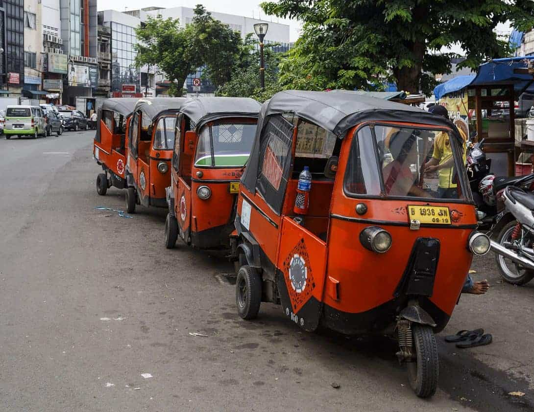 Rickshaws lined up in Jakarta, Indonesia