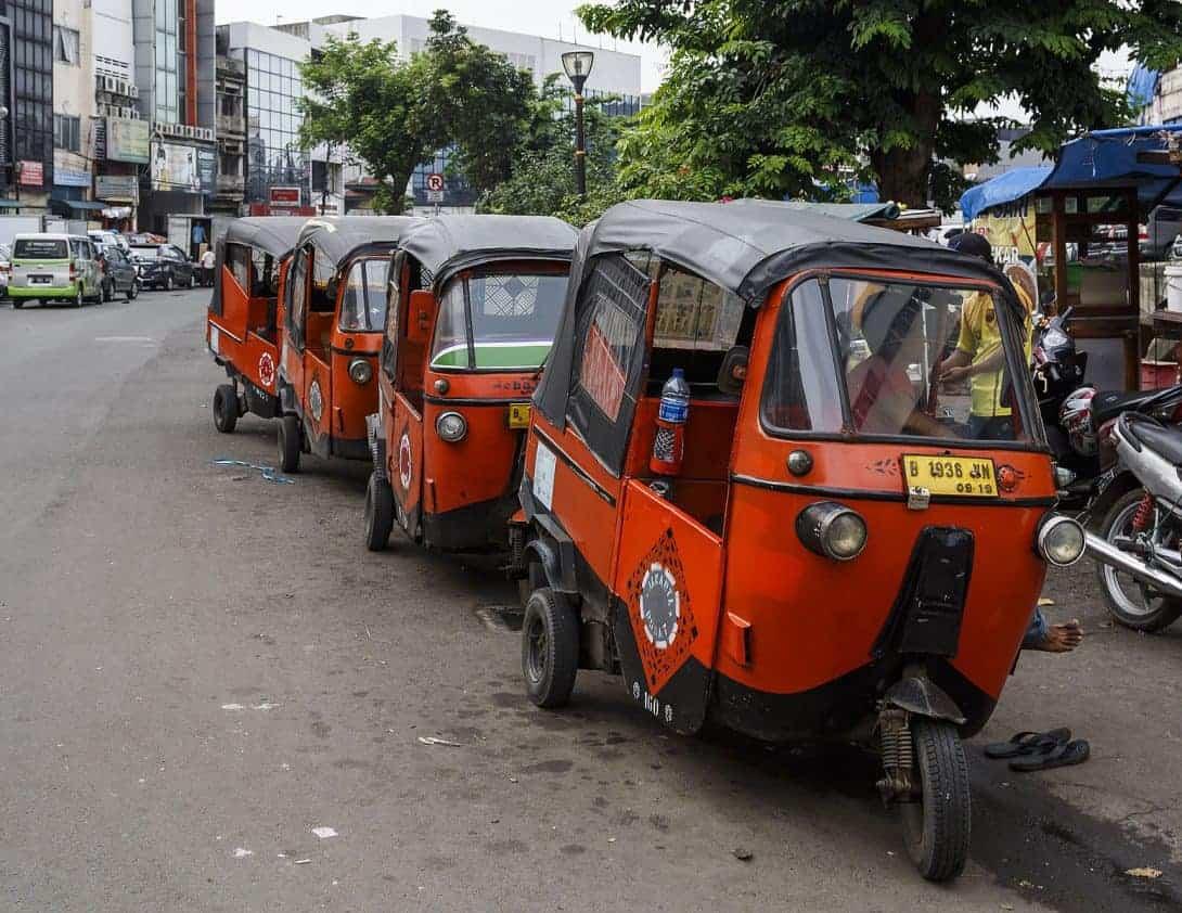 Rickshaws lined up in Jakarta, Indonesia