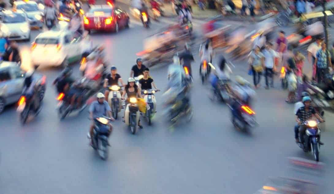 The roads in Hanoi Vietnam are carazy!