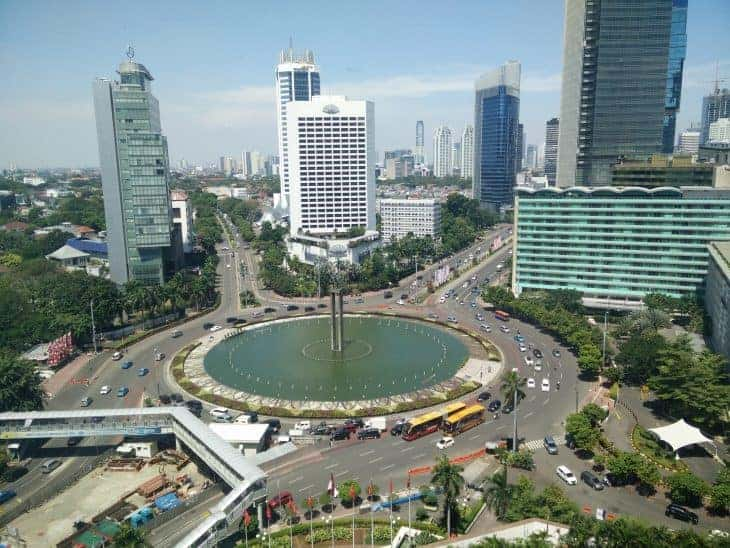Bunderan HI Jakarta, also known as Selamat Datang Monument.