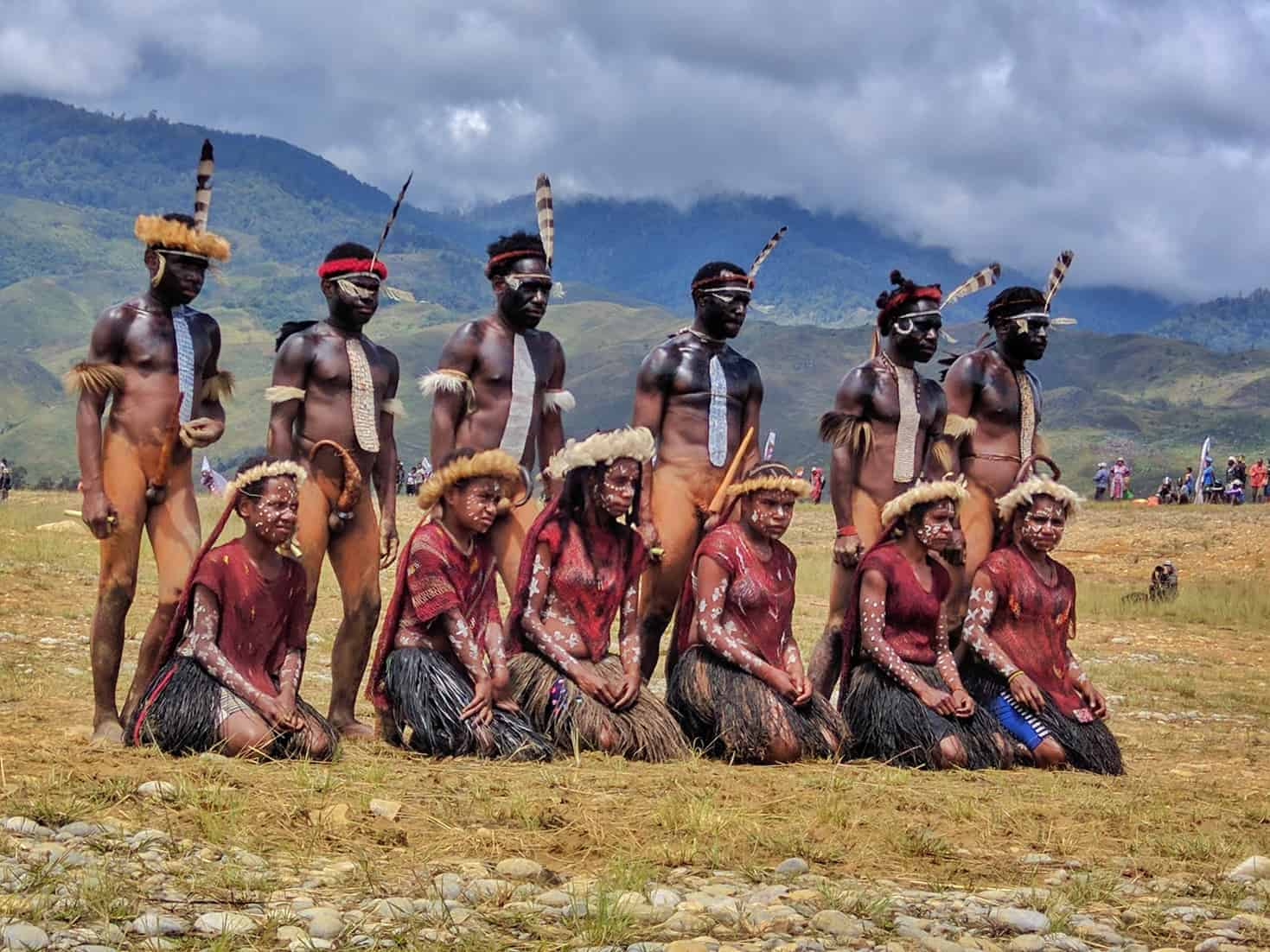 Dani tribal members performing in the Baliem Valley Festival