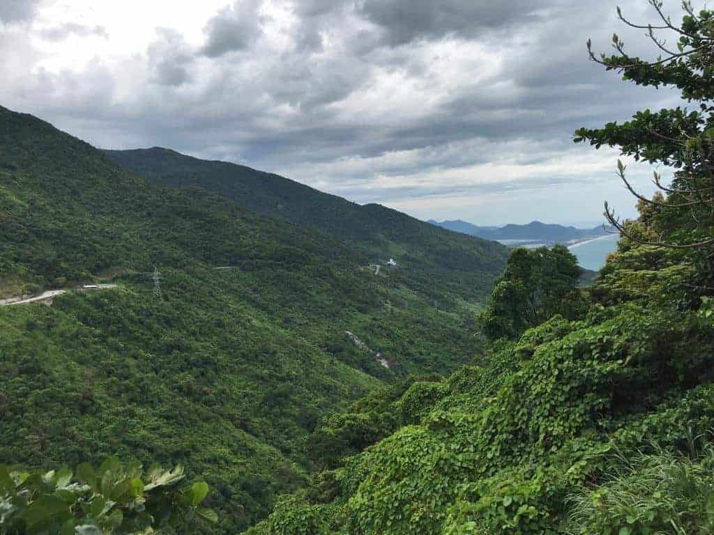 Mountainous scenery on the Hai Van Pass.