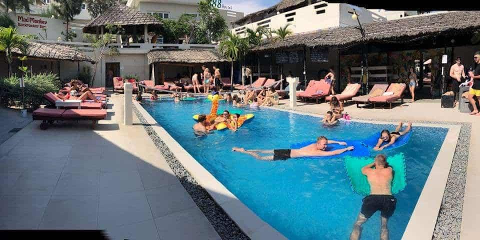 Backpackers enjoying the refreshing pool in Mui Ne Hills