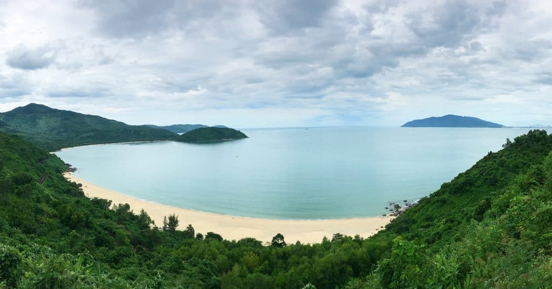 Perfect deserted beaches seen from the Hai Van Pass Vietnam