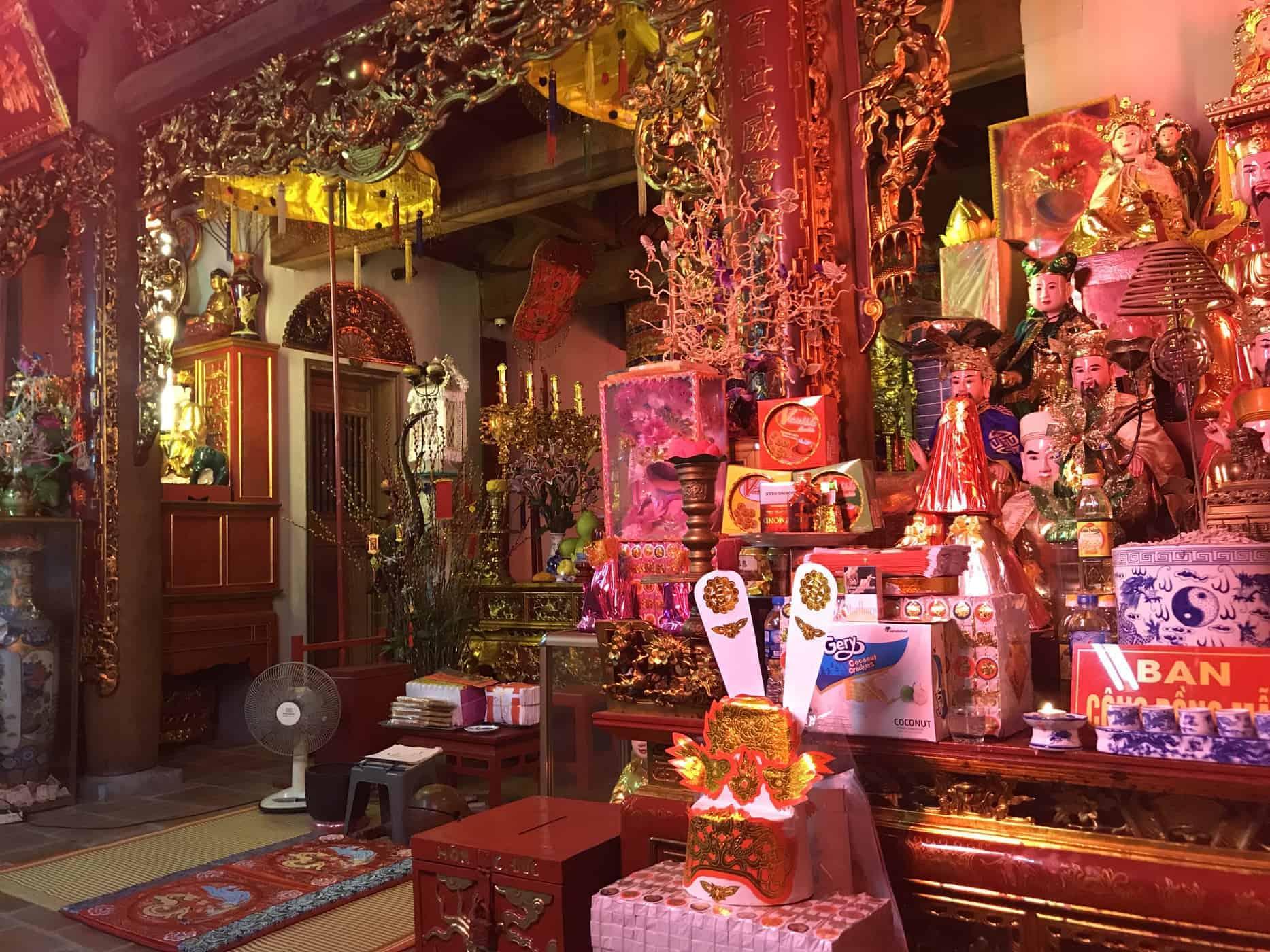 A Colourful Display inside a Pagoda in Hanoi