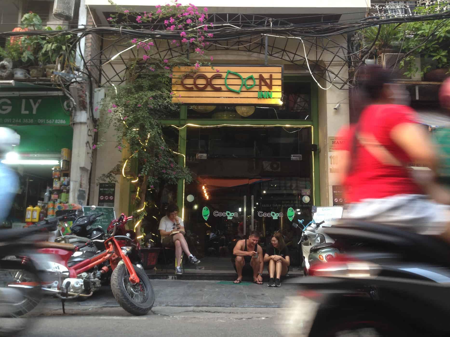 The entry to Cocoon Inn, Hanoi, Vietnam.