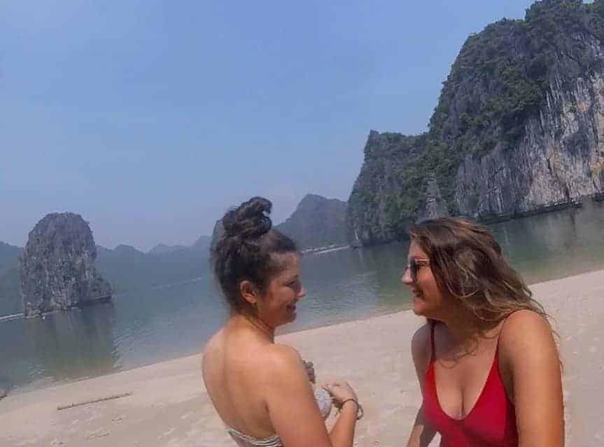 Backpackers enjoying nature at Halong Bay, Vietnam