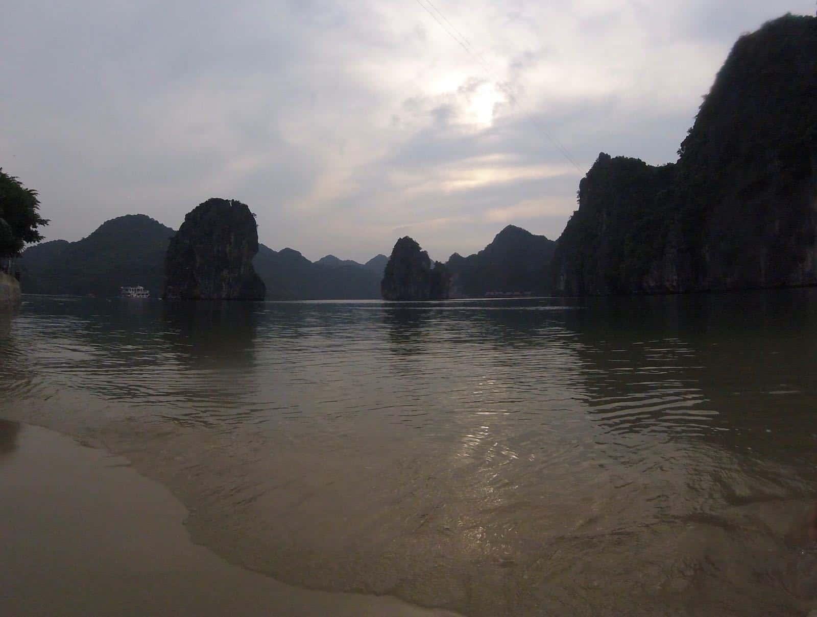 A beach in Halong Bay, Vietnam.