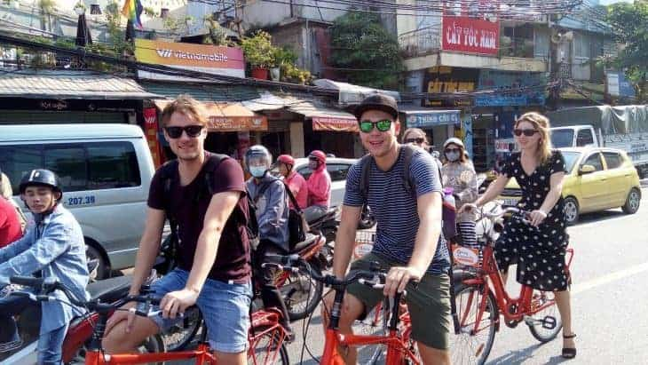 Backpackers on the Real Hanoi Bicycle Tour.