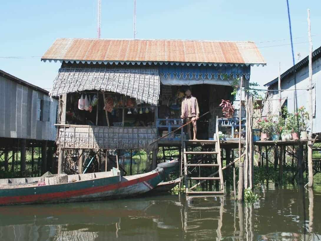 The floating houses of Tonle Sap Lake, Siem reap Cambodia.