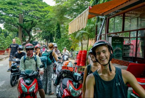 Group of riders on their way to Mekong Vietnam