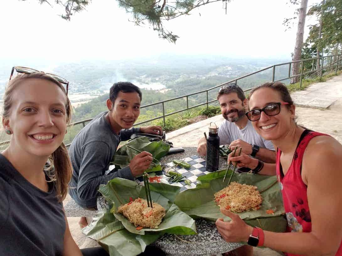 Eating lunch from Banana Plates during the 2-day Doi Inthanon trek.