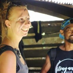 a smiling backpacker with Stray Away guide - Mae Wang, Thailand