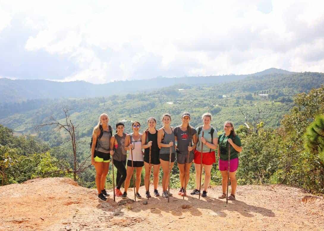 Backpackers trekking in Chiang Mai trek, Thailand