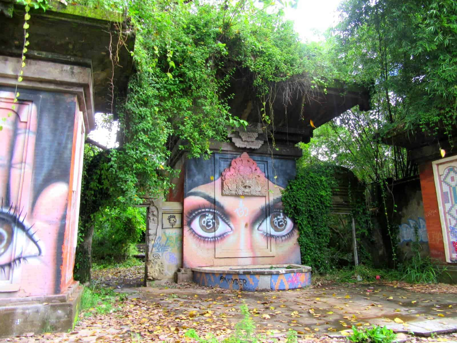 Graffiti Of A Woman's Eyes on a Concrete Construction at the Deserted Amusement Park, Taman Festival, Bali