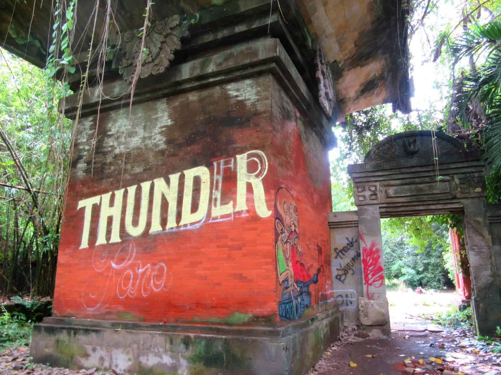 "The Word ""Thunder"" Graffitied on a Wall at Taman Festival"