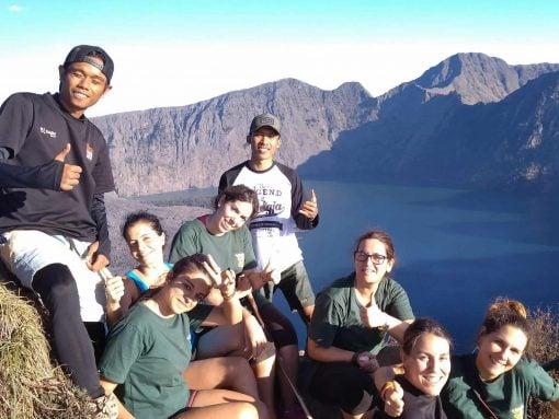 Backpackers at Mount Rinjani Lombok Indonesia