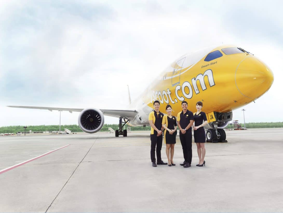 Scoot Budget Airline - Crew with aircraft