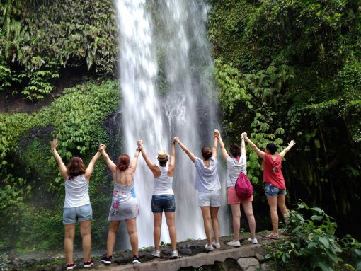 Waterfall in Lombok at the foot of Rinjani