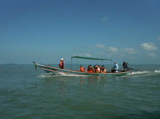 tourists aboard a boat Khanom Thailand