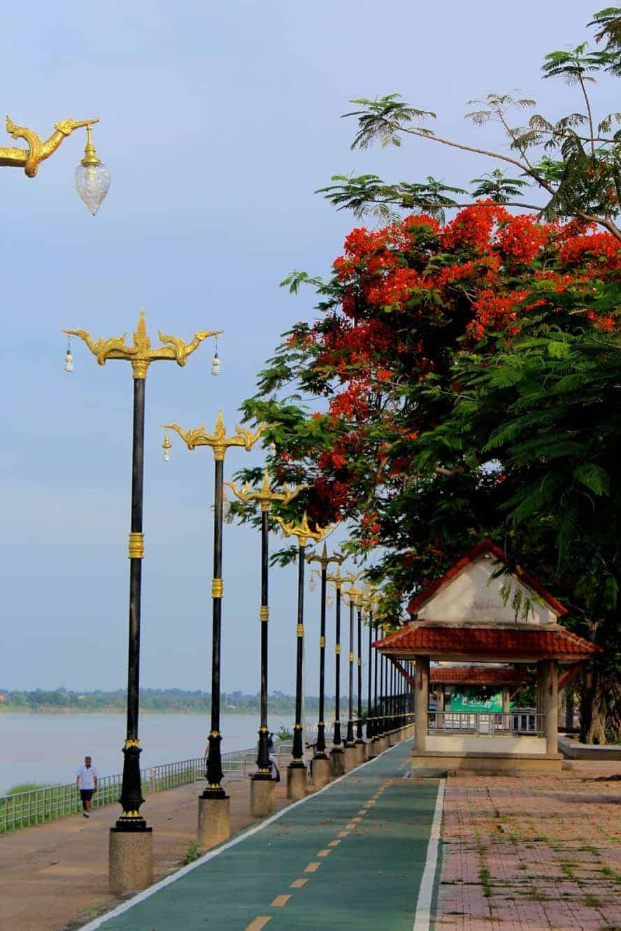 A park with a cycle path in Nakhon Phanom Thailand