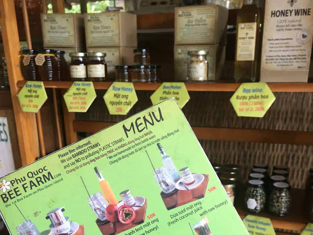 Honey infused menu at the Bee Farm of Phu Quoc Island, Vietnam.