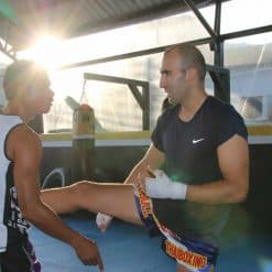 Muay Thai trainor with a trainee Punch It Gym Koh Samui Thailand