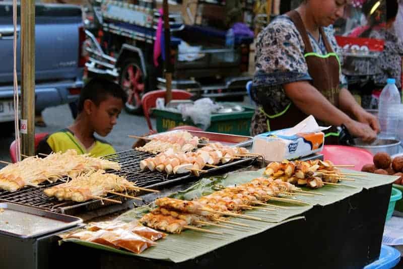 Street food on Walking Street Nakhon Phanom
