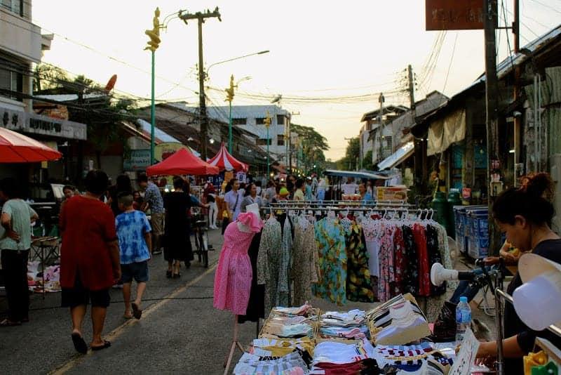 Stalls Line Walking Street, Nakhon Phanom Thailand