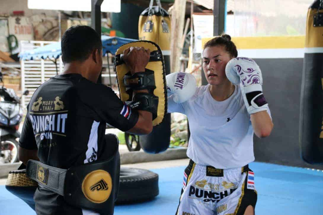 lady in muay thai training Punch it Gym Koh Samui Thailand