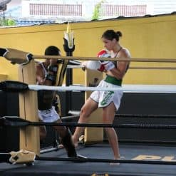 lady learning muay thai Punch It Gym Koh Samui Thailand