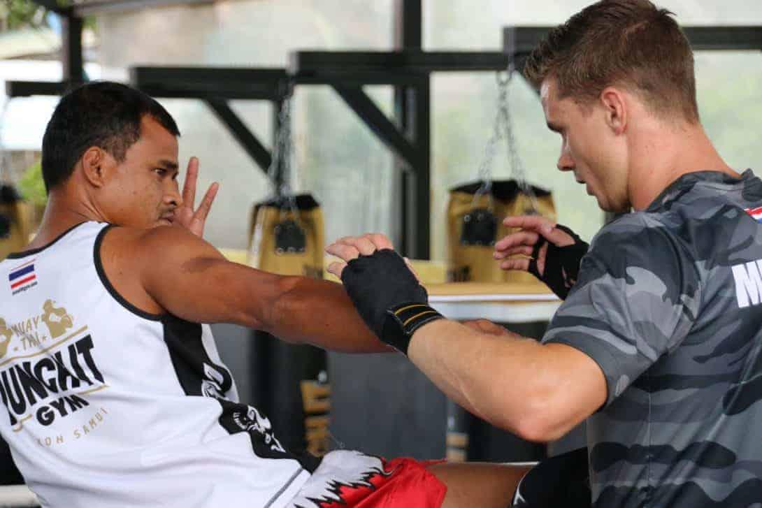 muay thai trainor and trainee Punch it Gym Koh Samui Thailand