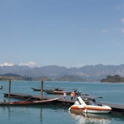 Our first glimpse of Cheow Larn Lake in Khao Sok National Park, Thailand.