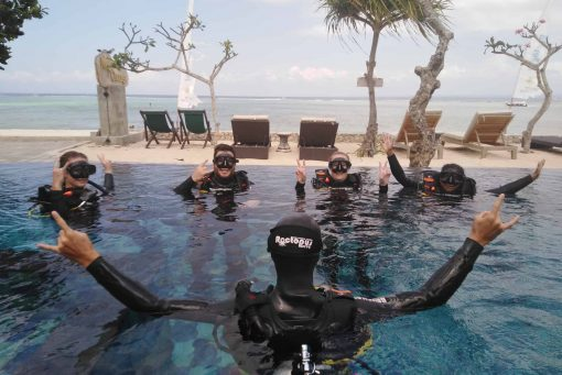 Learning to dive in Nusa Lembongan, Indonesia.