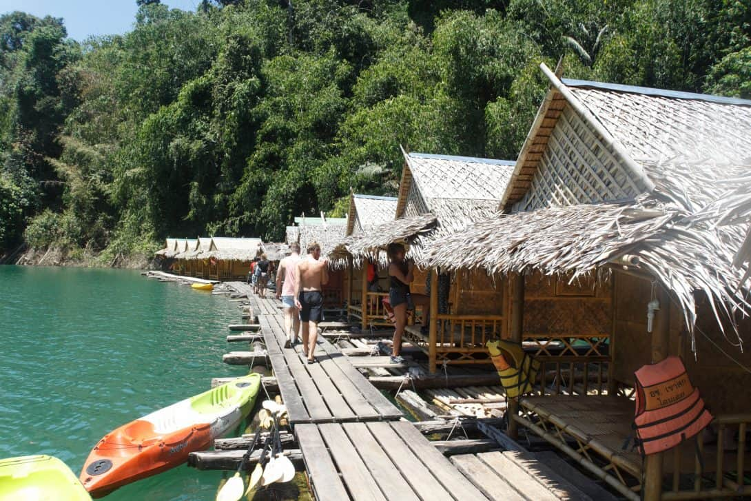 Arriving at Floating Bungalows in Khao Sok National Park.