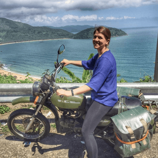A Girl on a Bike on the Hai Van Pass