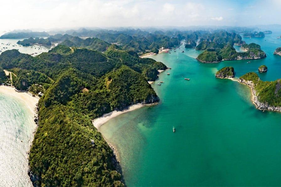 Lan Ha Bay, Vietnam Seen From The Air.
