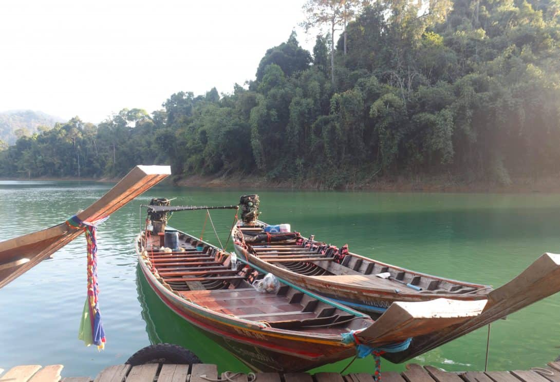 Long tail boats at Khao Sok National Park.