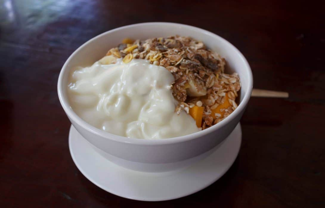 Muesli, fruit, yog - every backpacker's favourite breakfast!