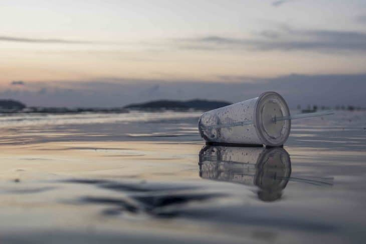 Plastic cup on the beach in Southeast Asia.